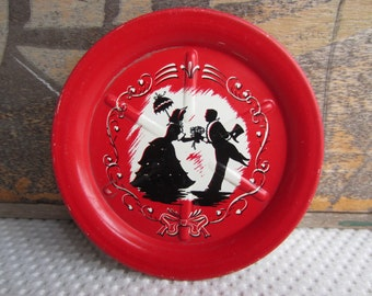 Vintage Courting Couple Silhouette Tin Costers Red and Black