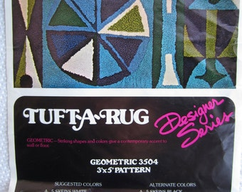 Vintage Mid Century Geomentric Mod Tuft-A-Rug Pattern