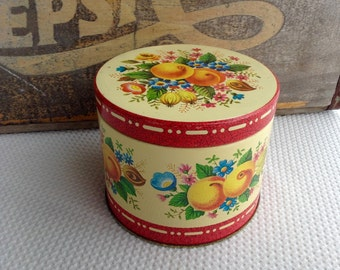Vintage Peach Floral Tin made in England