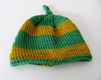 Hand knitted baby hat---Newborn--- Cotton---natural-----boys and girls