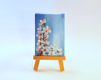 Cherry blossom - original painting on mini canvas