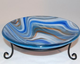Blue and amber swirl fused art glass bowl