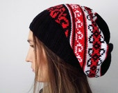 Adult Handknit Slouchy hat, Fair Isle hat, warm and Colorful black, white, red