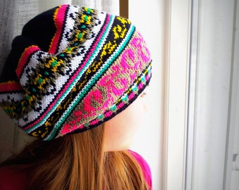Fair Isle Knit hat, 2 sizes Slouchy Hat for Girls, Teens, Women, Warm and Colorful pink, green, black
