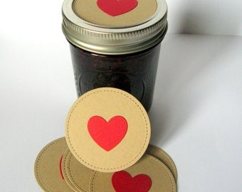 Canning Jar Toppers, Mason Jar Toppers, Heart Jar Toppers, Mason Jar Lids, Mason Jar Decoration, Heart Label, Heart, Wedding Mason Jar