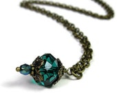 Blue Green Teal Czech Glass and Antiqued Brass Vintage Style Necklace, Cyan Minimalist Necklace, Handmade Jewelry Gift Ideas, jewelrybyNaLa
