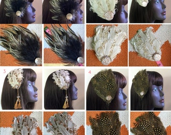 Natural Browns Ivories and Beige Burlesque Feather Fascinator Choose Style at Checkout!