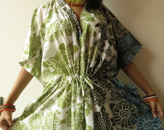 White Green Floral short Kaftan Dress Best gift for her, dressing gown lounge wear, beach cover up, vintage fashion