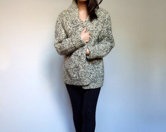 80s Chunky Thick Knit Sweater Pockets Cream Black Zip Up Oversize Cardigan Winter Fashion - Small Medium Large S M L