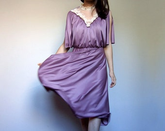 Vintage Purple Lace Dress Split Sleeve 70s Party Dress Drape Boho Summer Dress - Extra Small XS S
