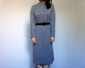 70s Grey Long Sleeve Winter Dress Pockets Simple Aline Gray Minimalist Dress - Large Extra Large L XL