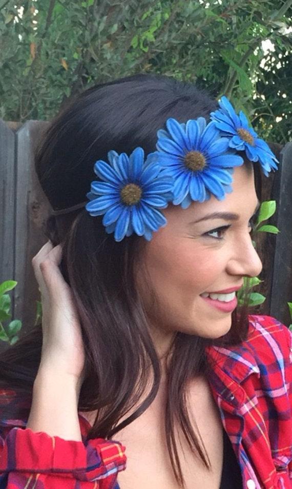 Blue Flower Power Headband