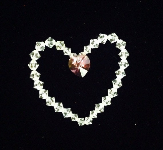 Swarovski Crystal Beaded Heart charm pendant