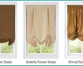 Professionally Made Custom Roman Shades -YOUR CHOICE In Dupioni Silk Fabric, Browns and Bronze