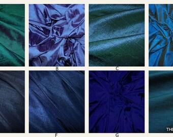 Professionally Made Custom Roman Shades -YOUR CHOICE In Dupioni Silk Fabric, Blues