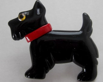 A  Solid Black Scottie Standing Lucite Pin / Brooch.