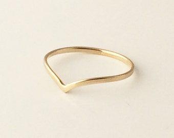 14k Gold Handmade Chevron Midi Ring