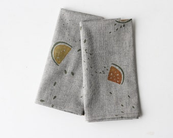 Organic Cotton/Linen Napkins - Grey Fruit Wedges