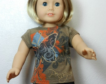 BK Taupe Pennsylvania Tee with Black Butterfly Graphic - 18 Inch Doll Clothes fits American Girl