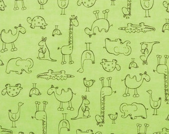 Custom Crib Sheet - Jungle Animals Outlines - Light Green-  Flannel Cotton