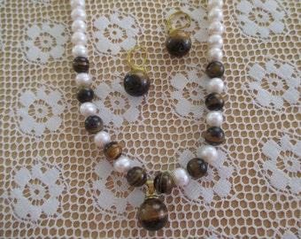 Vintage costume jewelry   / pearl and tigers eye necklace and earrings
