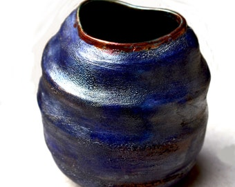 Raku Ceramic Vase.  Ceramic Cobalt WAVE Raku Vase. Hand Built Purple Blue Ceramics. Zen Ceramics. Holiday Gift.