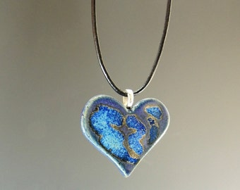 Ceramic Heart Pendant / Heart / Necklace in Purple Rain Glaze / Clay Pendant / Handmade Jewelry / Valentines Heart