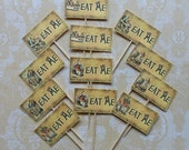Set of 12 or 24 Alice in Wonderland Ready to use Cake & Drink decorations Party Picks and Tags- Cupcake toppers and/ or Drink Tags with Ties