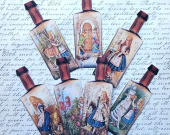 3 Different sizes- Set of 7 Alice in Wonderland full color STICKERS or Card stock BOTTLES- Drink Me bottle Alice in Wonderland party bottles