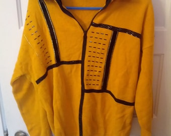 beaded sweater mustard yellow zip 80s sweater knit large 1980s jumper pullover
