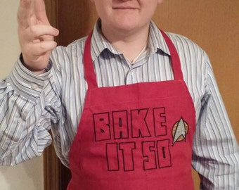 Geek Apron, Star Trek Inspired Apron- Bake It So, Nerd Apron