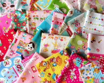 Cute Japanese Kawaii, Designer Fabric SCRAP PACK, 20 pieces