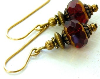 Red Czech glass and earrings with brass details, red and gold glass rondelle earrings, red glass dangles