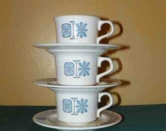 Taylorstone Corinthian TS&T Taylor, Smith and Taylor Cups and Saucers, 3 Sets