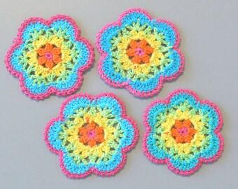 10 Large Crochet Flower Appliques EA275
