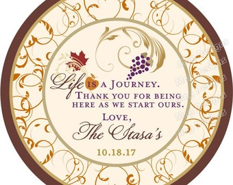 Custom Fall Wedding Stickers - Fall Wedding - 2 inch Round Stickers - Thank you stickers or tags for gifts, wine bottles, favors 50