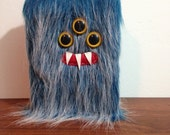 """Blueberry Frost Monster 5"""" X 7"""" Lined Journal- Three Yellow Eyes"""
