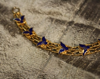 Vintage Gold and Blue Enamel Bracelet