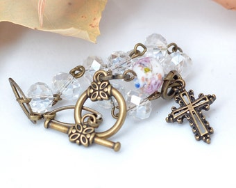 Crystal Clear Rosary Bracelet with Rose Lampwork Bead