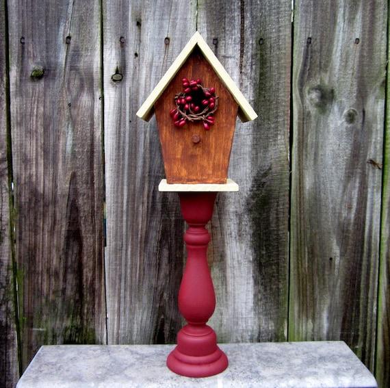 birdhouse decorative primitive indoor pedestal by. Black Bedroom Furniture Sets. Home Design Ideas