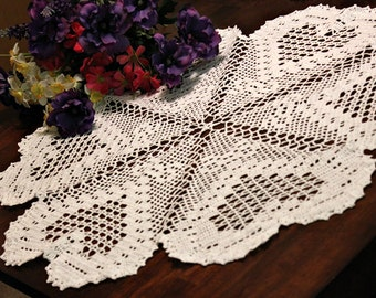 Beautiful White Heart  Crochet doily