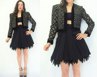 SALE...80's Vintage Gold + Black Velvet Diamond Print Bolero Jacket / Crop Blazer / Tuxedo Jacket