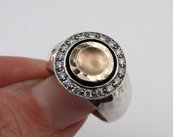 Handcrafted 9k yellow gold & 925 sterling Silver  CZ ring size 7.5  (ms r1250)