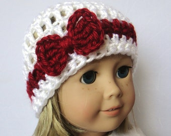 Crochet Doll Hat - Knit Bow Beanie - 18 Inch Doll Clothes