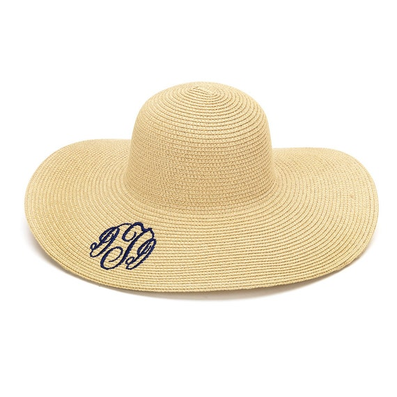 monogrammed natural floppy straw hat