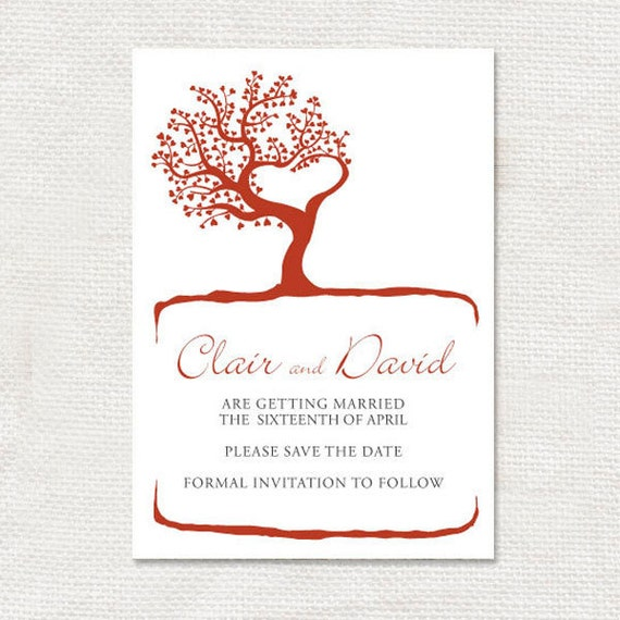 tree of love wedding save the date - printable file romantic announcement red nature