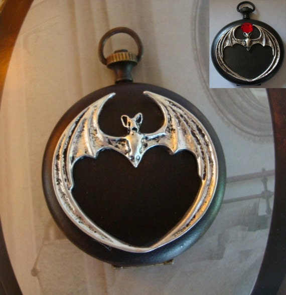 GOTHIC Vampire Bat Necklace Or Locket, STEAMPUNK VAMPIRE Poison Vessel, Vintage Press Watch Locket, Silver Bat