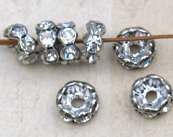 20 pcs 6mm silver Wavy Clear Rhinestones Rondelle Spacer Beads 6mm x 3mm Bohemian Craft Supplies Altered Art Supplies