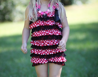 Petti lace and satin romper in Red and Black with polka dots, baby & toddler girl headband sold separate, Birthday, Photo, minnie mouse