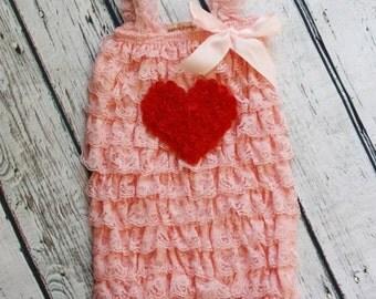 1st Valentine's Day Outfit- Petti Romper-Petti Romper with Heart- Red Baby Petti Romper- Pink Toddler Petti Romper-Girls Petti Romper